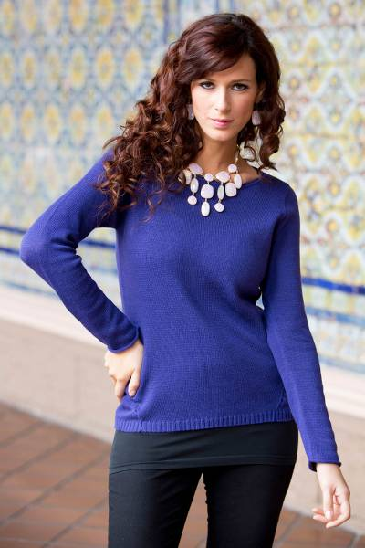 Cotton and alpaca sweater, 'Puno Purple' - Handmade Alpaca Wool Blend Cotton Pullover Sweater