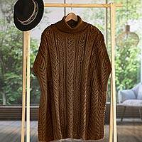 Alpaca blend poncho, 'Tan Dreams'
