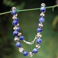 Sodalite beaded necklace, 'Inca Mermaid' - Sodalite beaded necklace