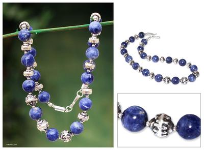 Sodalite beaded necklace, 'Inca Mermaid' - Sodalite beaded necklace