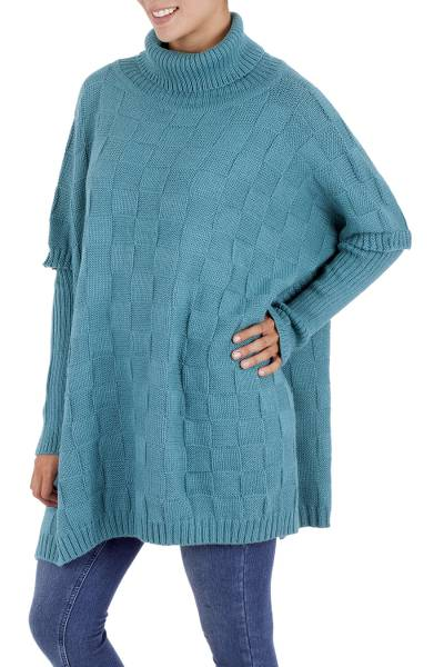 Alpaca blend poncho, 'Teal Contrasts' - Artisan Crafted Alpaca Blend Poncho