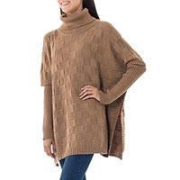 Alpaca blend poncho, 'Tan Contrasts' - Fair Trade Alpaca Wool Poncho from Peru