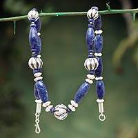 Sodalite beaded necklace, 'Andean Raindrops'
