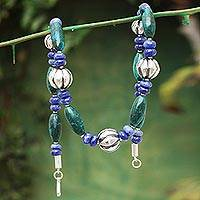 Sodalite and chrysocolla beaded necklace, 'Naturally, Peru' - Sodalite Chrysocolla Beaded Necklace 925 Sterling Silver Art
