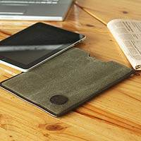 Leather accent cotton tablet sleeve, 'Puno on the Go' - Handcrafted Cotton Tablet Sleeve