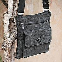 Cotton messenger bag, 'Piura Traveler' - Cotton messenger bag