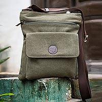 Cotton messenger bag, 'Ica Traveler' - Fair Trade Leather Accent and Cotton Shoulder Bag