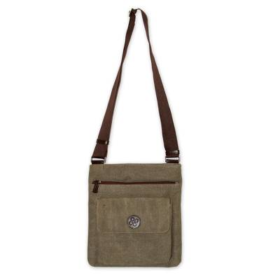 Cotton messenger bag, 'Ica Traveler' - Leather Accent and Cotton Shoulder Bag