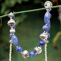 Sodalite beaded necklace, 'Titicaca Mermaid' - Handmade Sterling Silver Beaded Sodalite Necklace