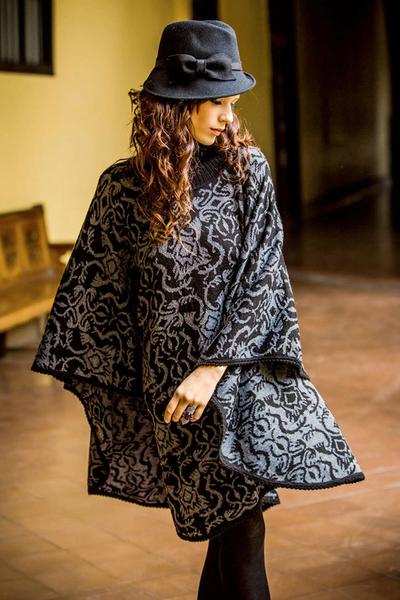 Alpaca blend reversible poncho, 'Sublime Black' - Alpaca Wool Blend Patterned Poncho