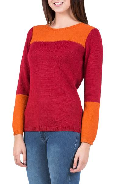 Alpaca blend sweater, 'Andean Sunset' - Handmade Peruvian Women's Alpaca Wool Sweater