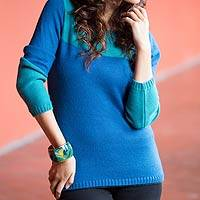 Alpaca blend sweater, 'Andean Blues' - Artisan Crafted Alpaca Blend colour Block Sweater