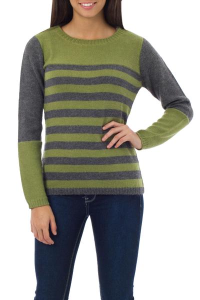 Alpaca blend sweater, 'Arequipa Elegance' - Alpaca Blend Striped Pullover Sweater