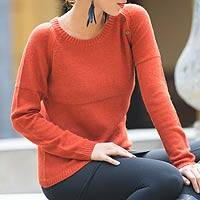 Alpaca blend sweater, 'Andean Orange'