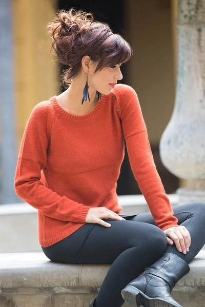 Alpaca blend sweater, 'Andean Orange' - Handcrafted Alpaca Blend Sweater