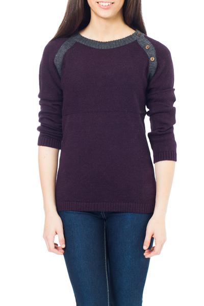 Alpaca blend sweater, 'Andean Purple' - Unique Peruvian Alpaca Wool Pullover Sweater