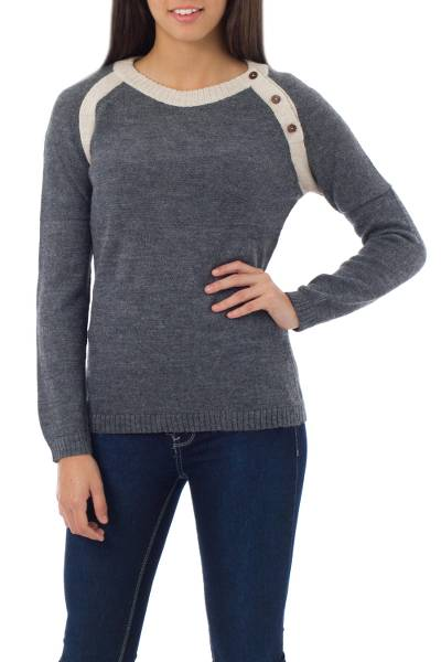 Alpaca blend sweater, 'Andean Gray' - Alpaca Wool Fashion Pullover Sweater