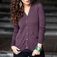 Alpaca blend cardigan, 'Nazca Purple' - Alpaca and Cotton Blend Classic Cardigan