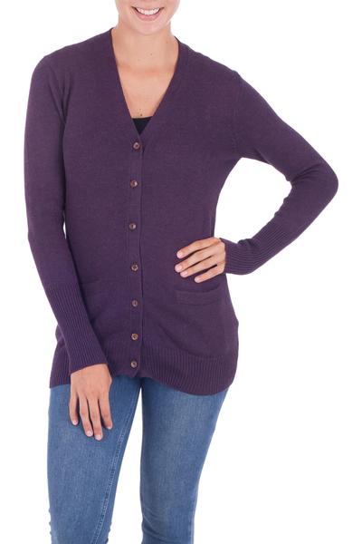 Alpaca blend cardigan, 'Nazca Purple' - Alpaca and Cotton Blend Classic Cardigan