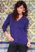 Cotton and alpaca blend cardigan, 'Nazca Violet' - Peruvian Cotton and Alpaca Wool Women's Cardigan (image 2) thumbail