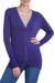 Cotton and alpaca blend cardigan, 'Nazca Violet' - Peruvian Cotton and Alpaca Wool Women's Cardigan thumbail