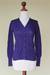 Cotton and alpaca blend cardigan, 'Nazca Violet' - Peruvian Cotton and Alpaca Wool Women's Cardigan (image 2c) thumbail