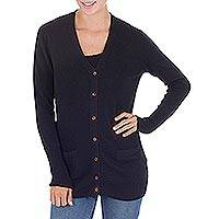 Cotton and alpaca blend cardigan, 'Nazca Black' - Artisan Crafted Cotton and Alpaca Cardigan Sweater