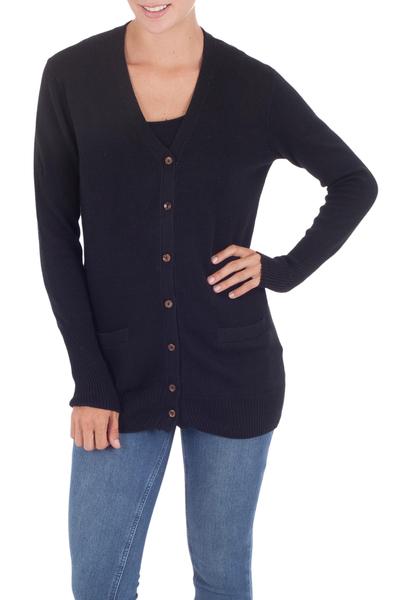 Cotton and alpaca blend cardigan, 'Nazca Black' - Artisan Crafted Cotton and Alpaca Cardigan Sweater