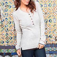 Alpaca blend sweater, 'Cuzco Beige' - Alpaca blend sweater