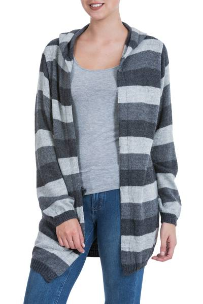 Alpaca blend hoodie sweater, 'Winter Shadows' - Striped Alpaca Blend Hoodie Sweater