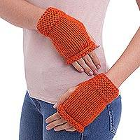 Alpaca blend fingerless gloves, 'Ginger Orange' - Alpaca blend fingerless gloves