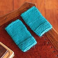Alpaca blend fingerless gloves, 'Vivid Turquoise' - Alpaca blend fingerless gloves