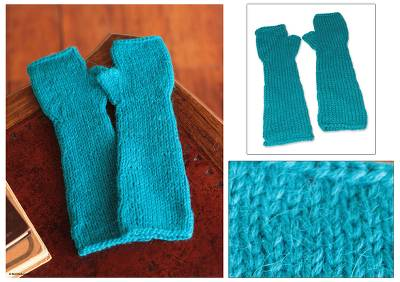 Alpaca blend fingerless mitts, Long Turquoise Beauty