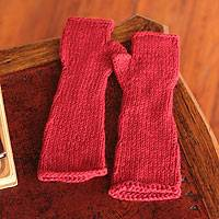 Alpaca blend fingerless gloves, 'Long Scarlet Beauty' - Alpaca blend fingerless gloves