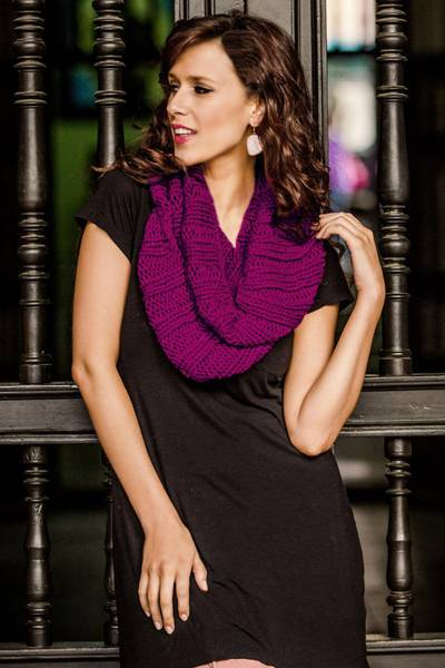 Alpaca blend neck warmer, 'Cozy Fuchsia' - Alpaca blend neck warmer