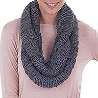 Alpaca blend neck warmer, 'Cozy Gray' - Hand Crafted Alpaca Wool Blend Neck Warmer Scarf