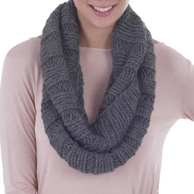 2893d8d123738 Alpaca blend neck warmer, 'Cozy Gray' - Hand Crafted Alpaca Wool Blend Neck