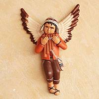 Ceramic wall decor, 'Angelic Andean Panpipes' - Ceramic wall decor