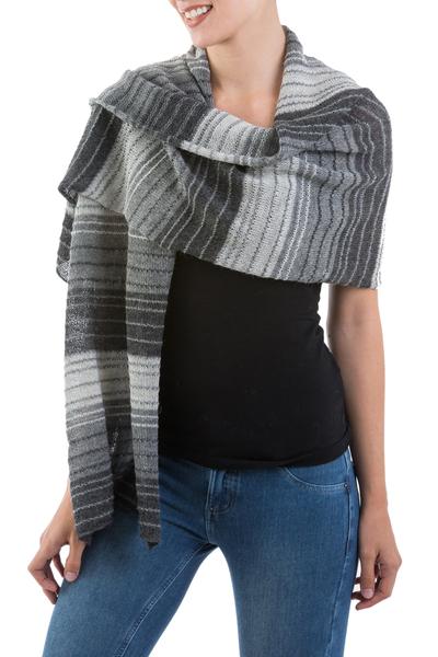 100% alpaca shawl, 'Peruvian Gray' - 100% alpaca shawl