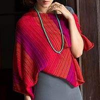 100% alpaca shawl, 'Peruvian Red' - Fair Trade Alpaca Wool Patterned Shawl