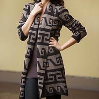 Alpaca blend long cardigan, 'Inca Frieze' - Geometric Patterned Alpaca Blend Long Cardigan
