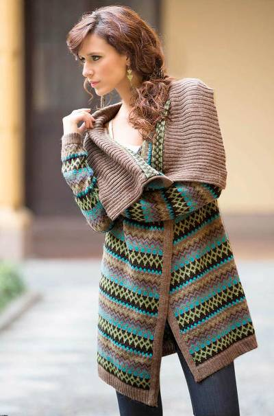 Alpaca blend cardigan, 'Brown Inca Chic' - Alpaca Blend Cardigan Sweater from Peru