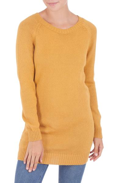 Alpaca blend sweater, 'El Dorado Dream' - Alpaca Blend Long Tunic Sweater