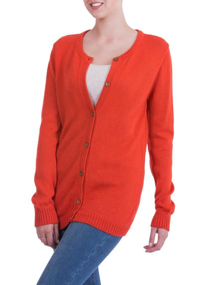 Alpaca blend cardigan, 'Timeless Orange' - Alpaca Blend Cardigan Sweater