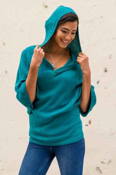 Alpaca blend hoodie sweater, Turquoise Trujillo Lady