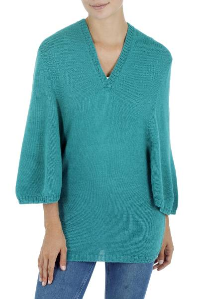 Alpaca blend hoodie sweater, 'Turquoise Trujillo Lady' - Alpaca Blend Hoodie Sweater
