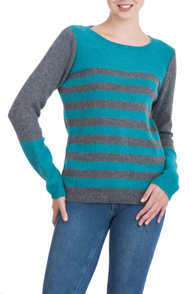 Alpaca blend sweater, 'Colca Elegance' - Unique Striped Alpaca Wool Sweater