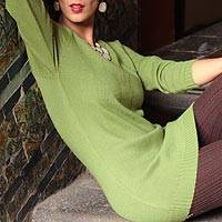 Alpaca blend sweater, 'Highland Forest Dream'