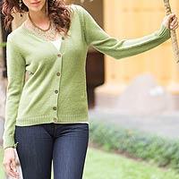 Alpaca blend cardigan, 'Timeless Green' - Alpaca blend cardigan