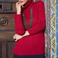 Alpaca blend sweater, 'Ravishing Ruby'